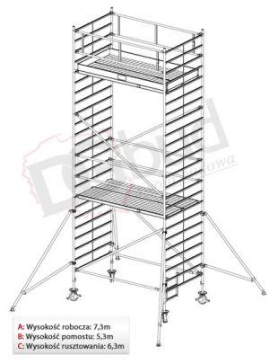 Rusztowanie przejezdne aluminiowe- STABILO 5000 | wys. rob. 7,3m